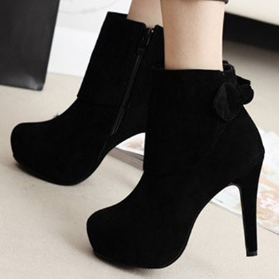 Side Zipper Bow Platform Short Floss Ankle Women's Boots