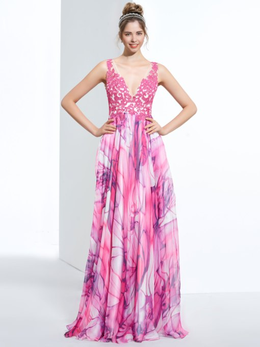 A-Line V-Neck Appliques Printed Sweep Train Prom Dress