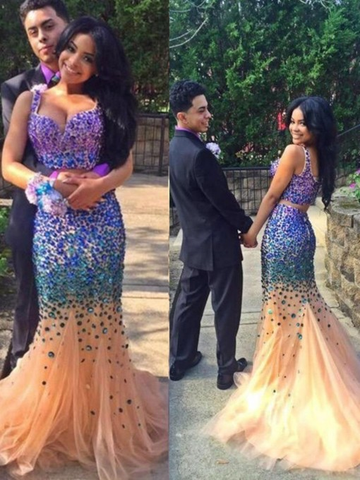 Sweetheart Mermaid Two-Pieces Beading Court Train Evening Dress