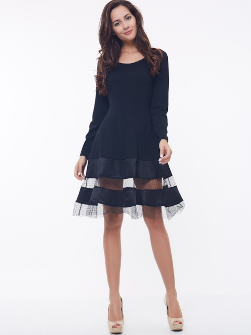 Black Mesh Plain Cotton Blends Women's Long Sleeve Dress