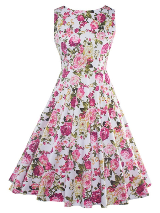 Flower Printed Sleeveless Women's Day Dress (Plus Size Available)