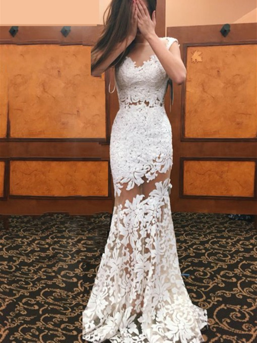 Illusion Neckline Sheath Lace Wedding Dress