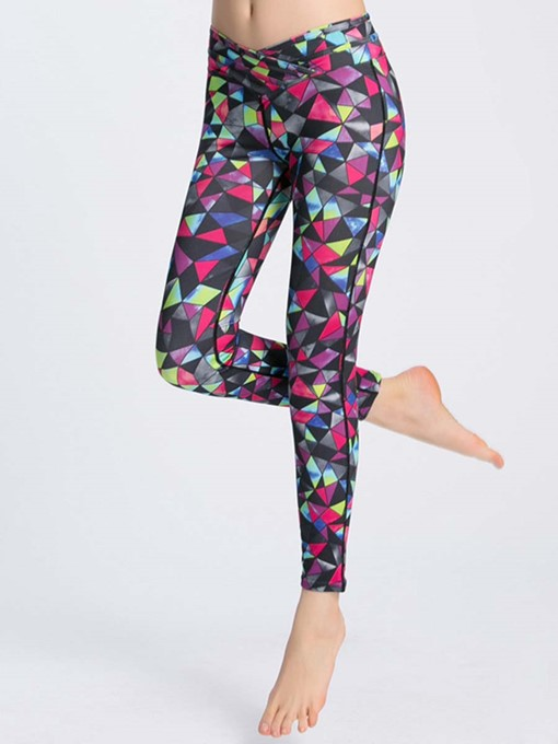 Polygon Printed High Springy Women's Running Pants