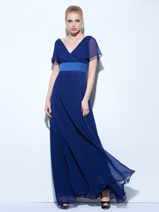 A-Line V-Neck Pleats Floor-Length Evening Dress