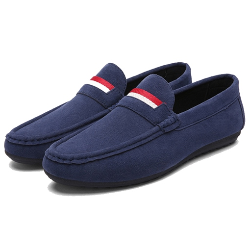 Round Toe Flat Heel Slip-On Contrast Color Men's Loafers