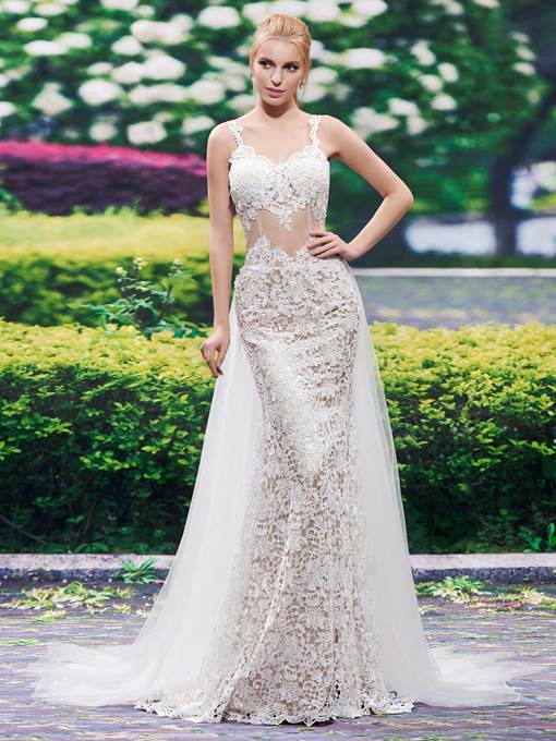 Spaghetti Straps Lace Backless Mermaid Wedding Dress