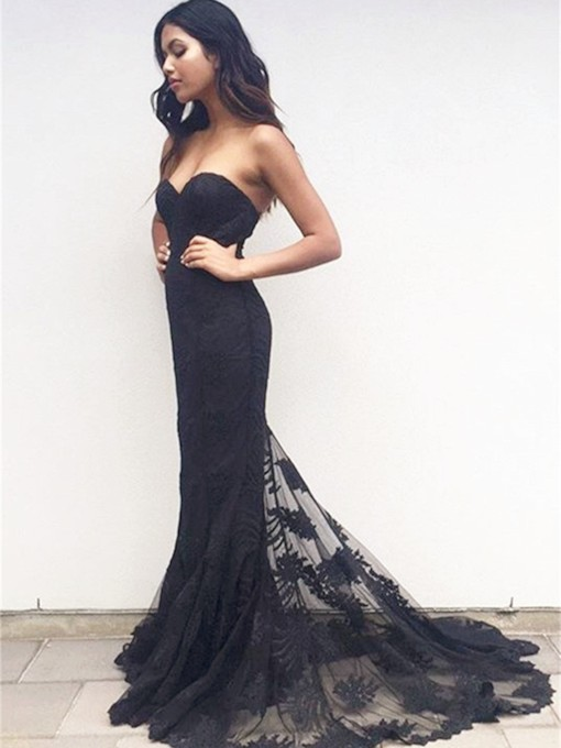 Mermaid Sweetheart Appliques Lace Court Train Evening Dress