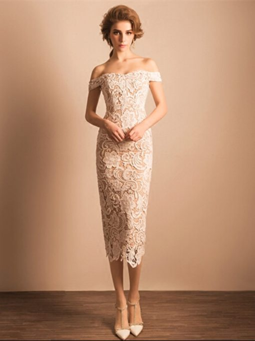 Sheath Off-the-Shoulder Lace Tea-Length Party Dress
