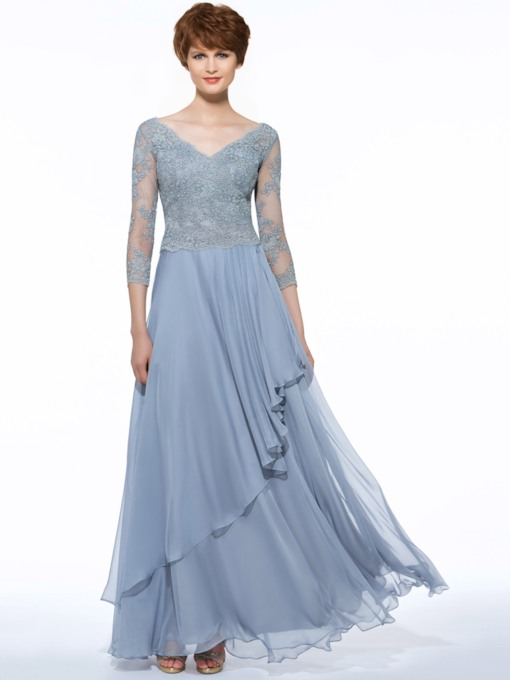 V-Neck 3/4 Length Sleeves Appliques Mother Of The Bride Dress