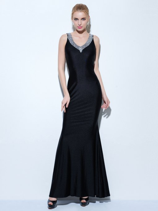 Mermaid Beaded V-Neck Floor-Length Evening Dress