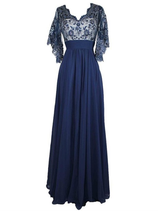 Sequins Appliques Plus Size Mother of the Bride Dress with Sleeves