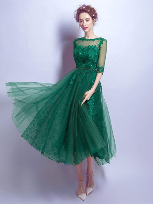 Half Sleeves Appliques Beading Tea-Length Prom Dress