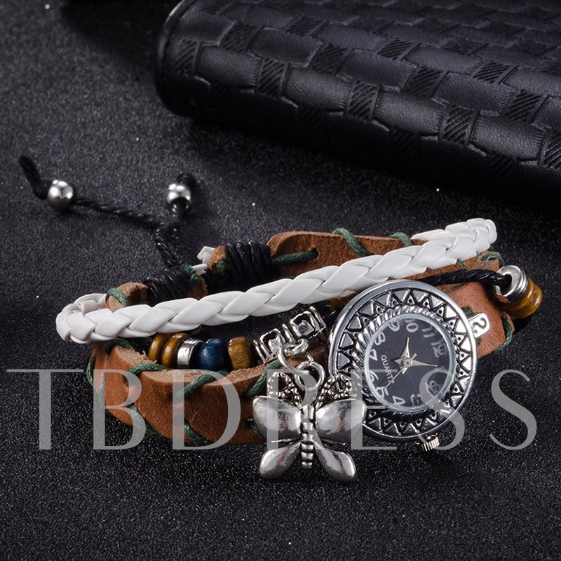Multilayer Butterfly Pendant Bracelet Watch