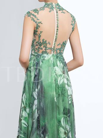 A-Line High Neck Appliques Button Printed Prom Dress