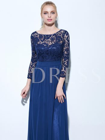 Lace A-Line Bateau Floor-Length Evening Dress