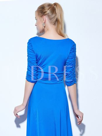 A-Line V-Neck Half Sleeves Ruched Cocktail Dress