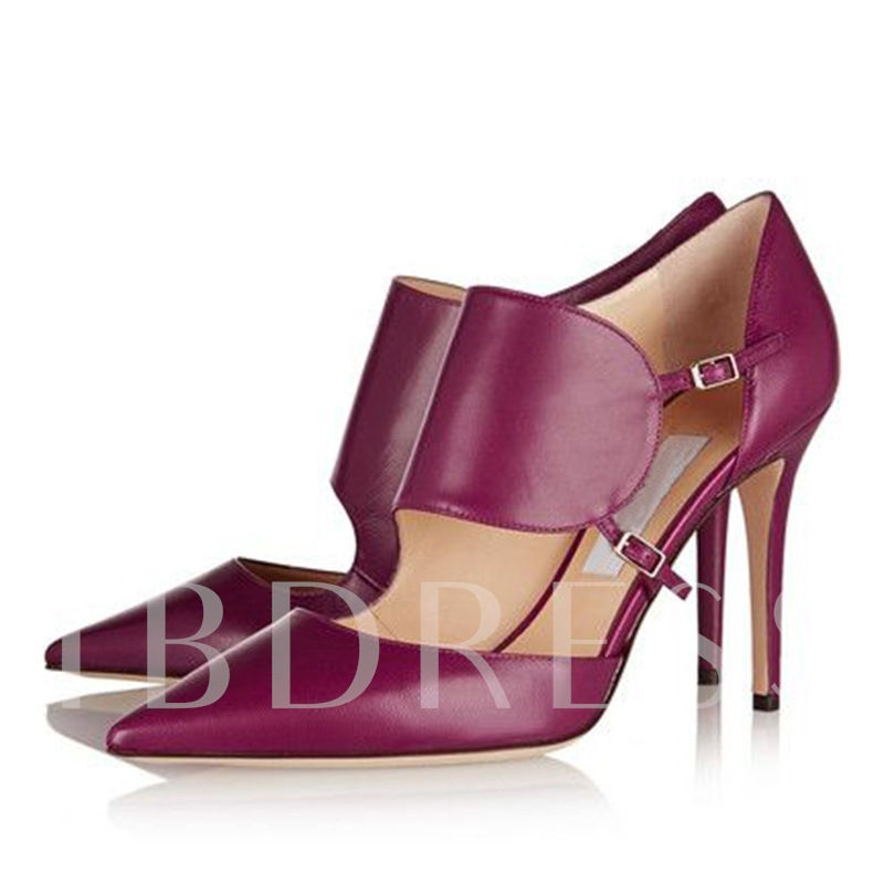 Pointed Toe Buckle Plain Stiletto Heel Women's Pumps