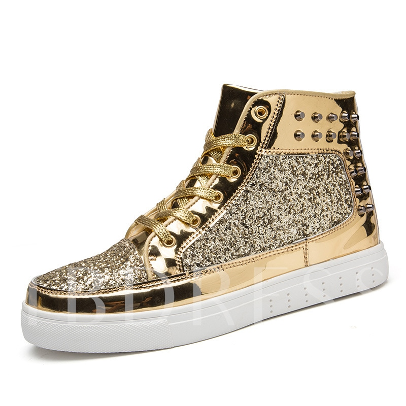 High-Cut Round Toe Lace-Up Rivet Lurex Glitter Men's Sneakers