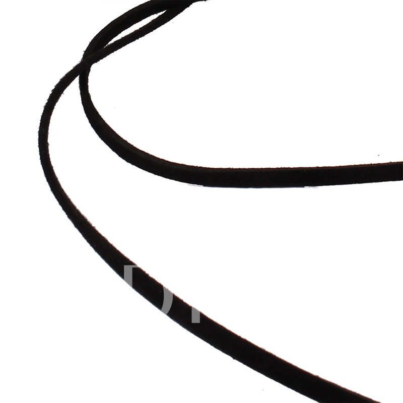 Black Yarn Diamante Choker Necklace