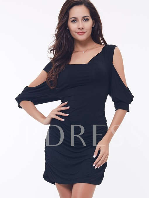 Spaghetti Strap Solid Color Short Sleeve Women's Blouse