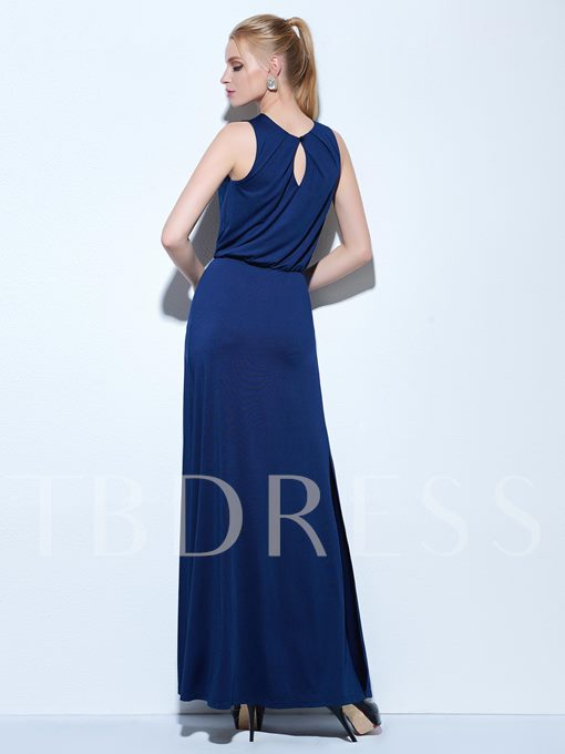 A-Line Jewel Beading Split-Front Floor-Length Evening Dress