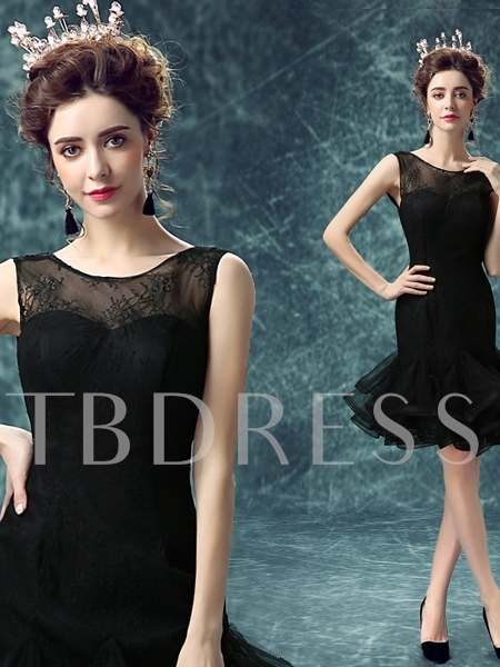 Lace Sheath Scoop Knee-Length Cocktail Dress