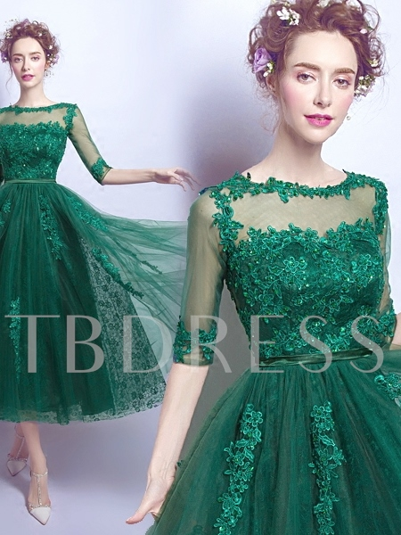 Half Sleeves A-Line Scoop Appliques Beading Tea-Length Prom Dress