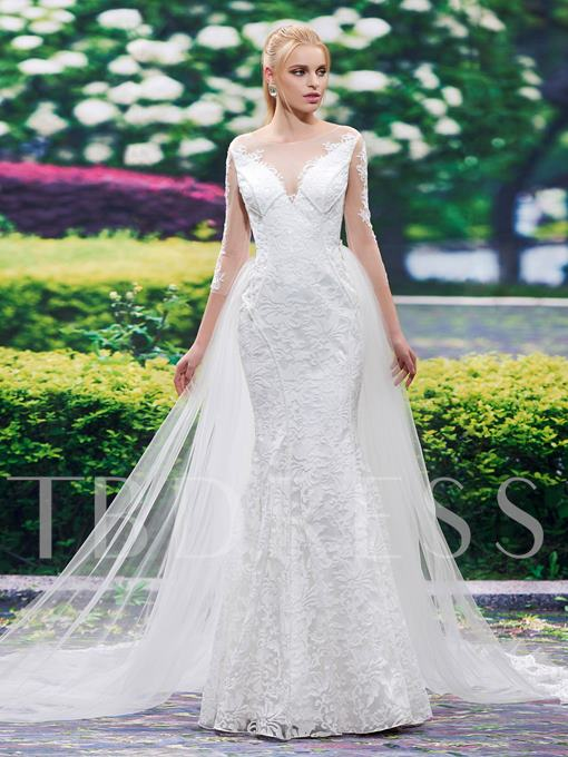 3/4 Length Sleeves Scoop Neck Lace Mermaid Wedding Dress