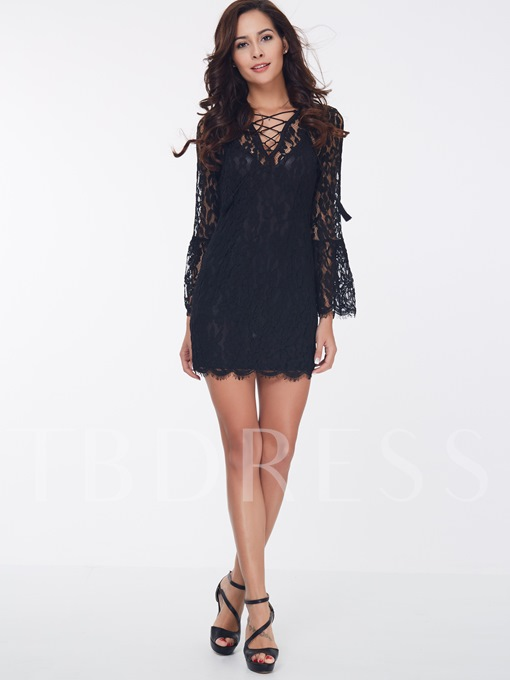 Black Lace up Women's Lace Dress