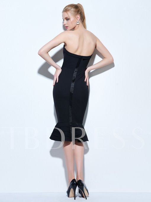 Mermaid Strapless Ruffles Knee-Length Cocktail Dress
