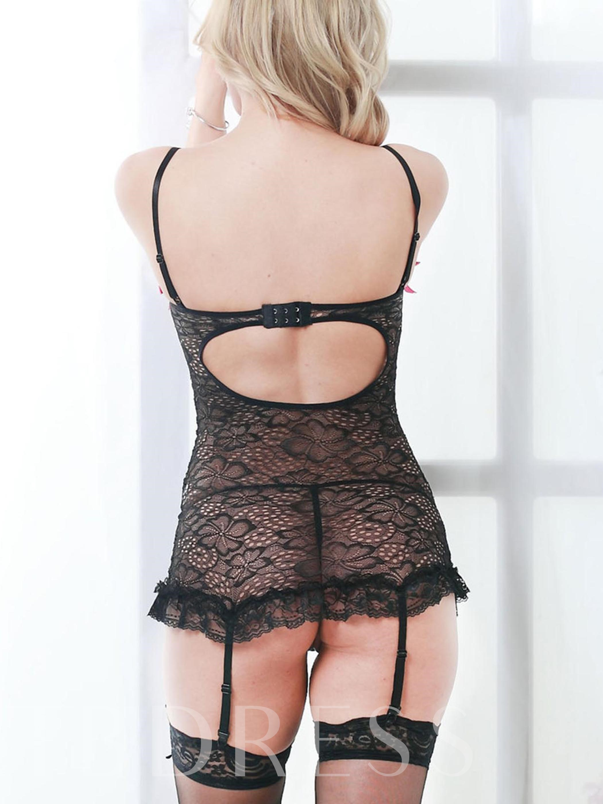 Sexy Lace Garter Chemise Set