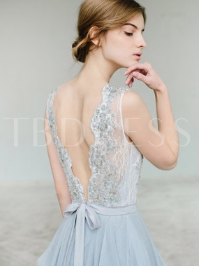 A-Line Scoop Bowknot Lace Sashes Court Train Evening Dress