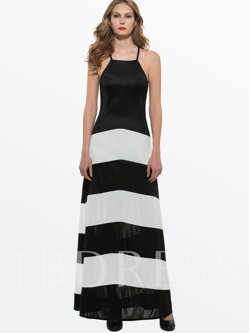 Stripe Patchwork Sleeveless Women's Maxi Dress
