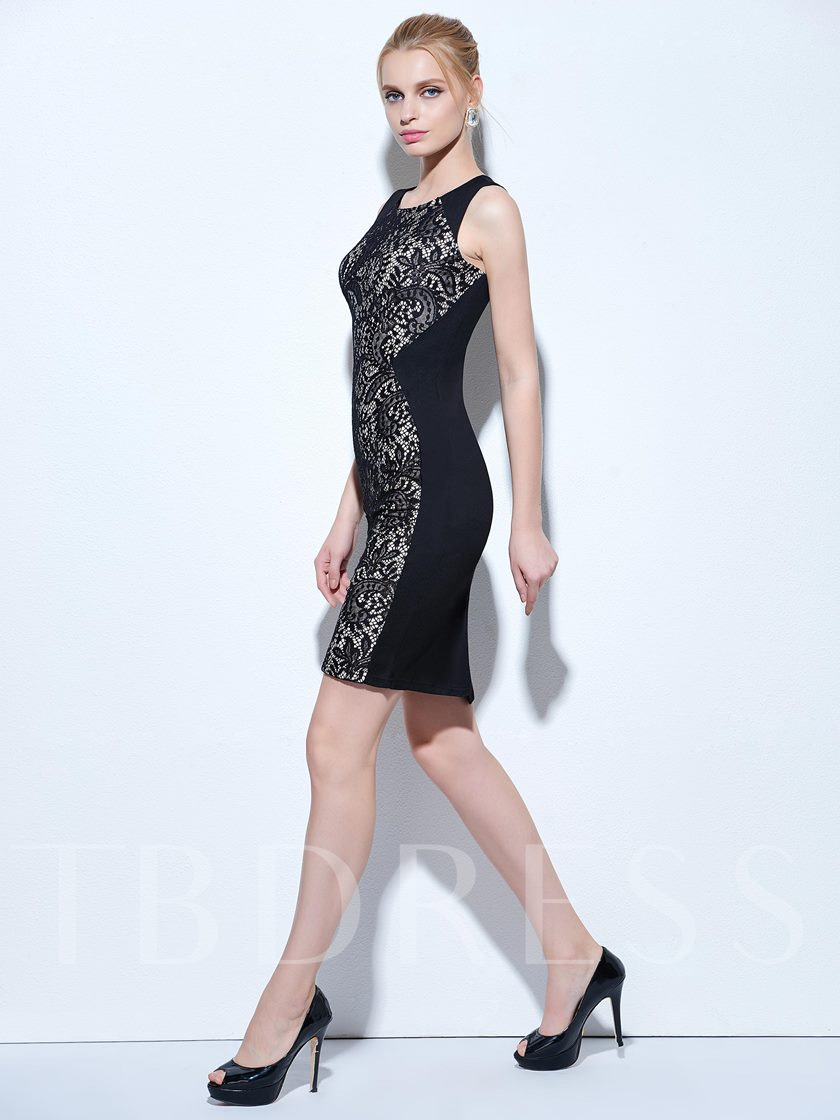 Scoop Column Lace Knee-Length Cocktail Dress