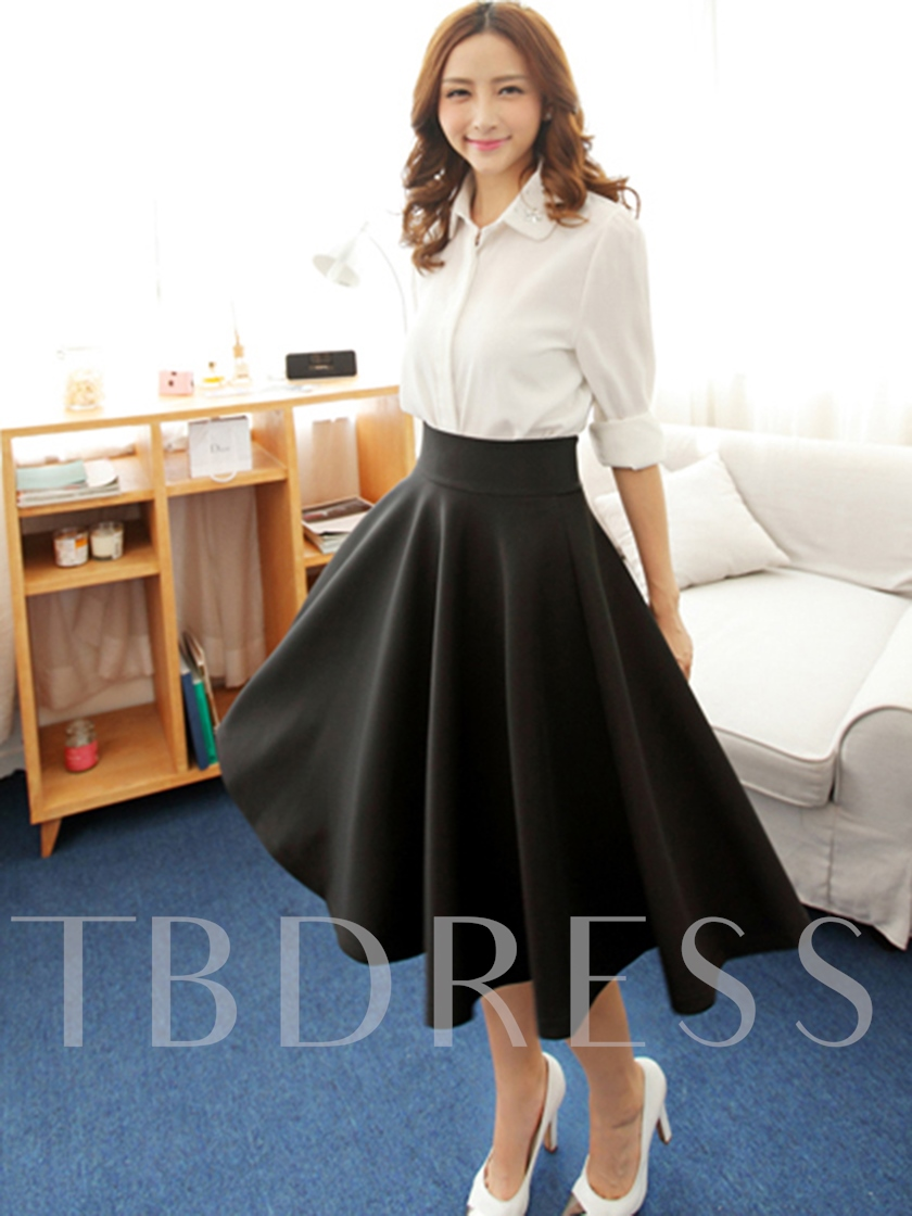 Graceful High Waisted Pure Color Women's Skirt