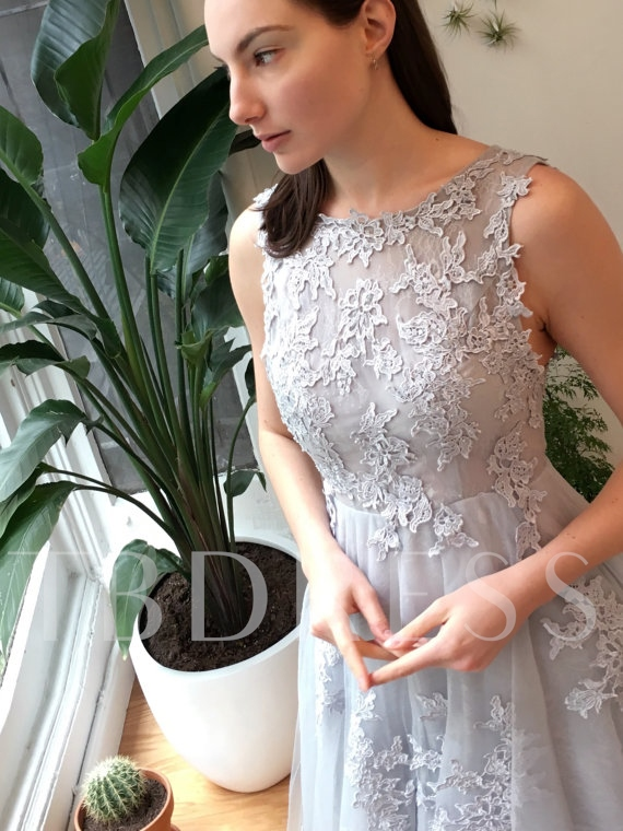 A-Line Round Neck Appliques Sashes Sweep Train Evening Dress