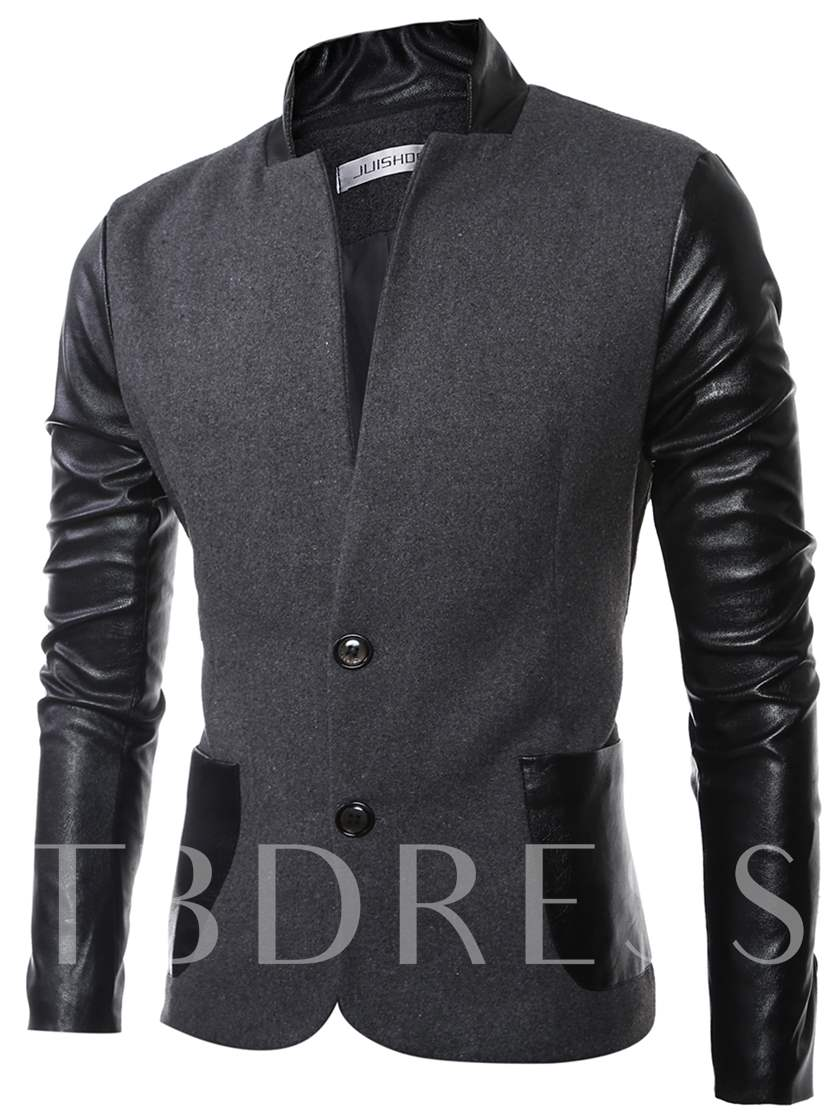 Men's Blazer with PU Sleeve