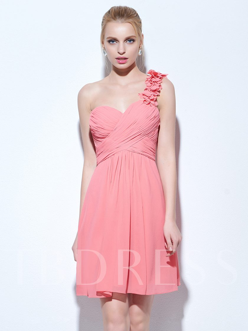 A-Line One-Shoulder Ruched Short Cocktail Dress