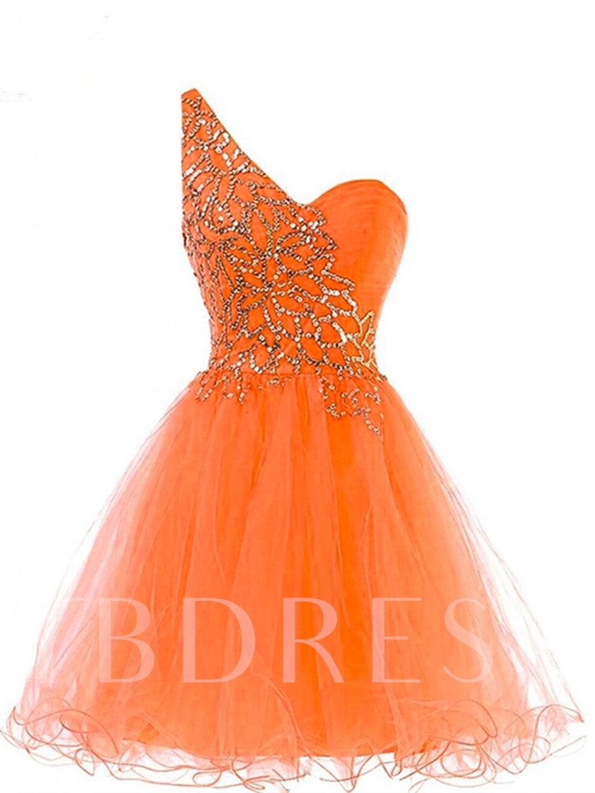 A-Line One-Shoulder Beading Short Homecoming Dress