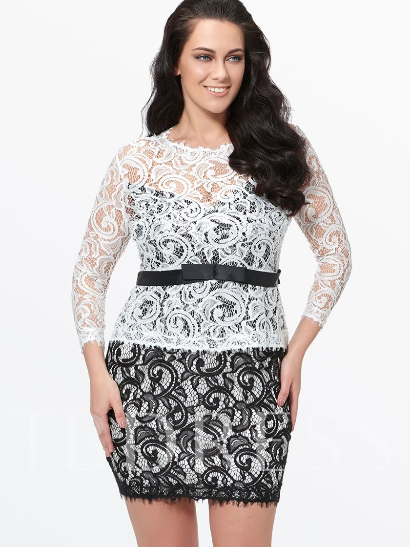 Plus Size 3/4 Sleeve Double-Layered Women's Lace Dress