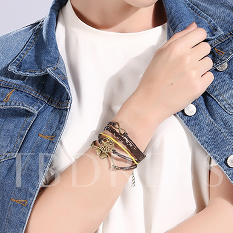 Alloy Birds Decorated Artificial Leather Bracelet