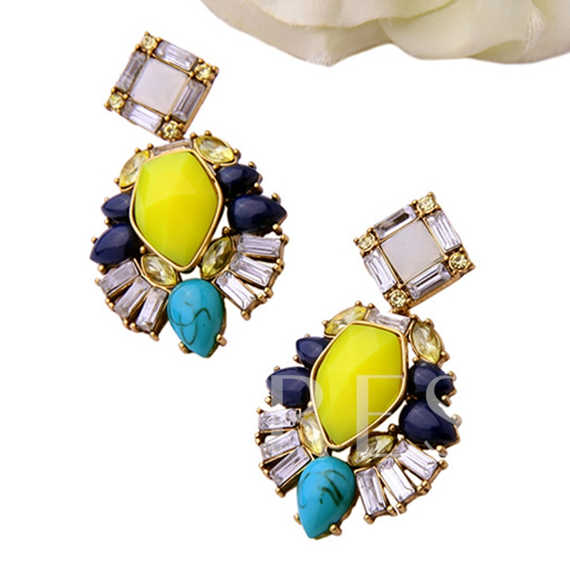 Colorful Artificial Gemstone Earrings