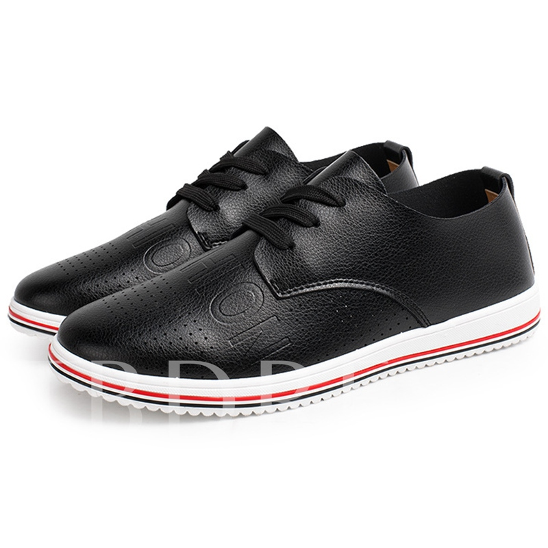Round Toe Flat Low Heel Lace-Up Front Plain Men's Loafers