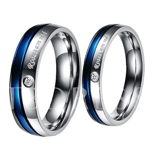 Image of Blue Letters Print Rhinestone Lovers Rings(Price For A Pair)