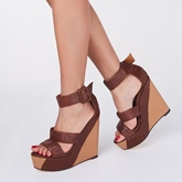 Wedge Heel Buckle Peep Toe Women's Sandals (Plus Size Available)