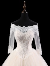 Off the Shoulder Beaded Appliques Half Sleeves Ball Gown Wedding Dress