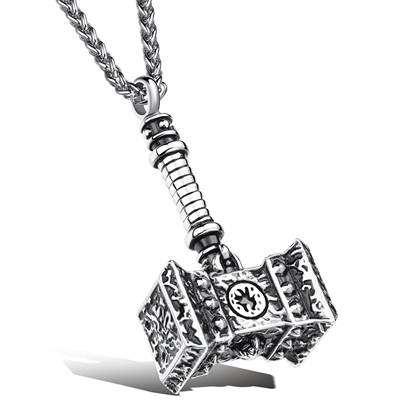 Thors Hammer Design Mens Pendant Necklace