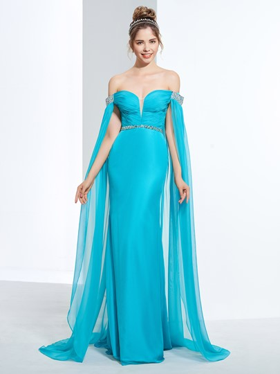 Sheath Beading Pleats Sequins Prom Dress
