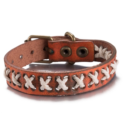 Brown Artificial Leather Pin Buckle Bracelet