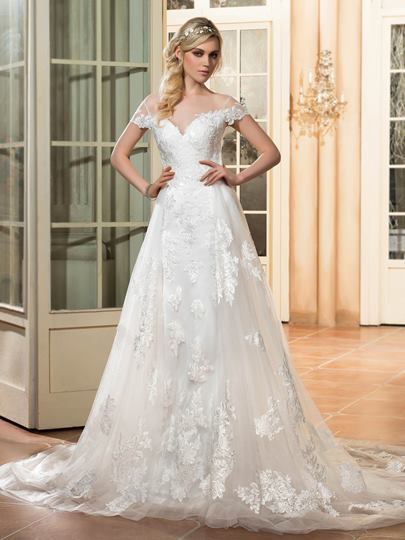 Gauze Neck Short Sleeves Appliques Open Back Wedding Dress